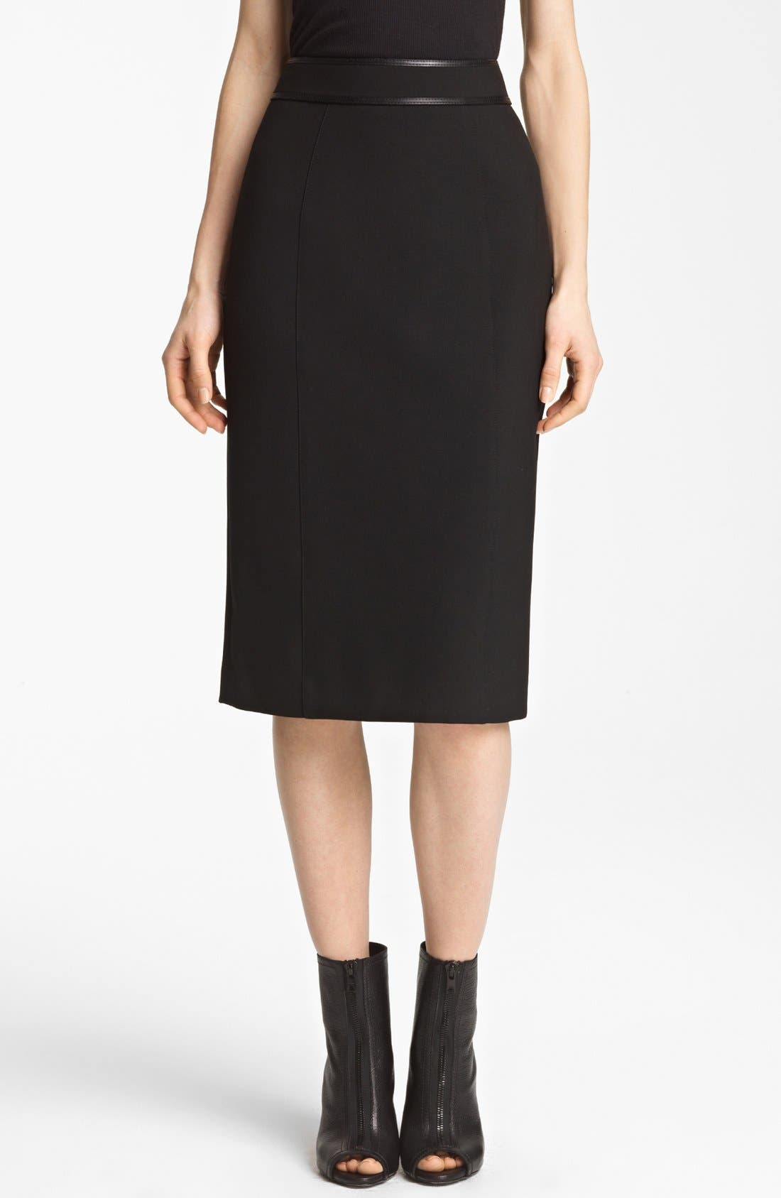 Main Image - Burberry London Leather Detail Stretch Jersey Skirt