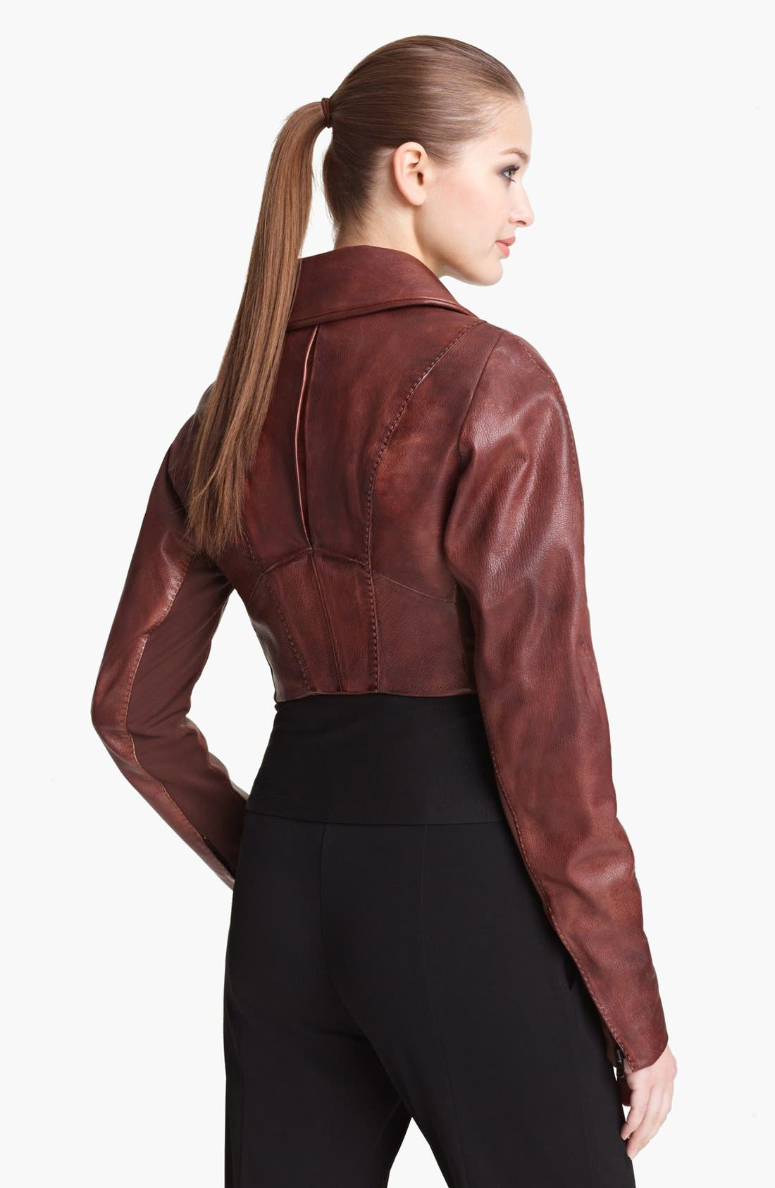 Alternate Image 2  - Donna Karan Collection Crop Leather Biker Jacket