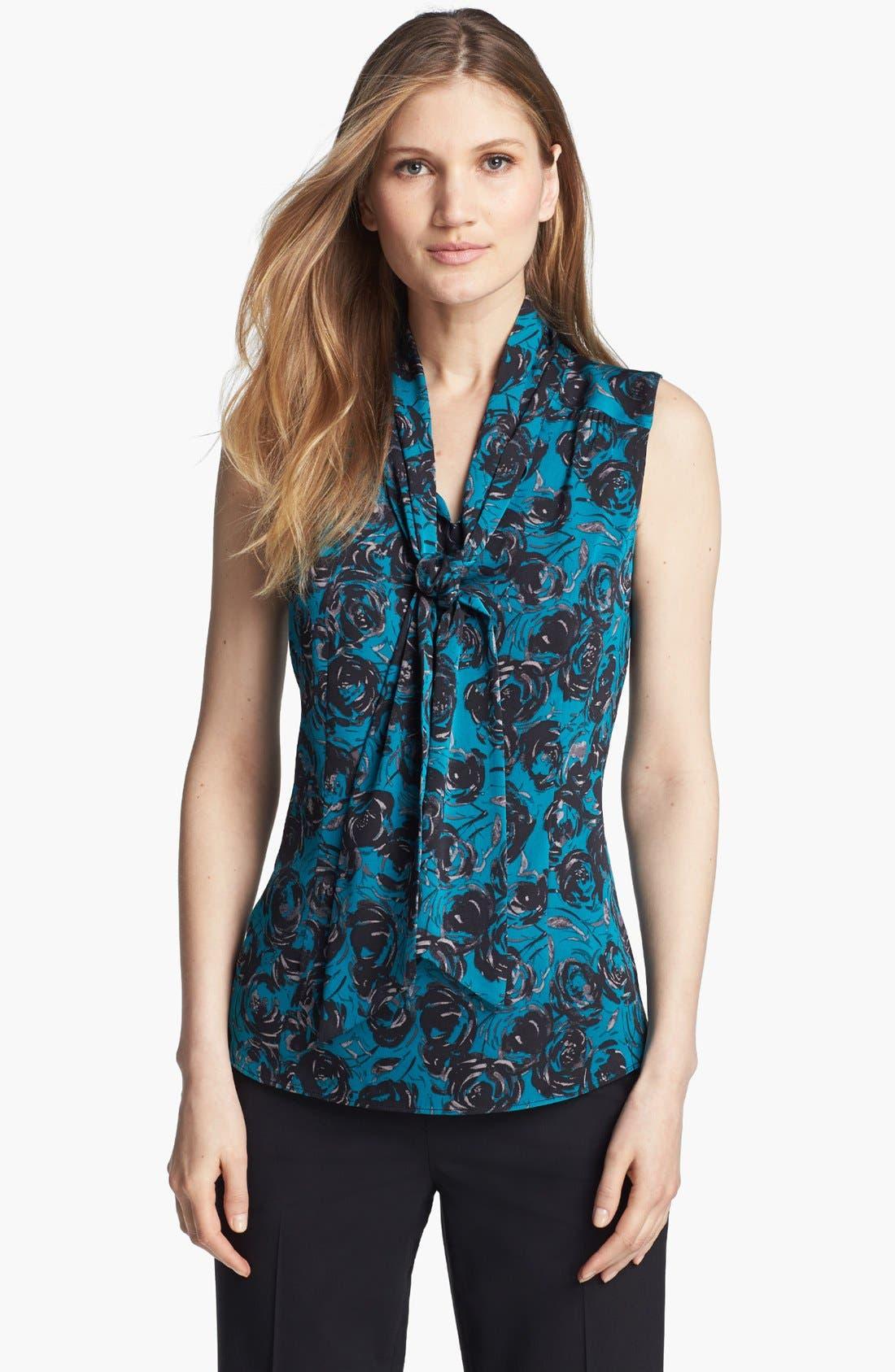 Main Image - Classiques Entier® Tie Neck Stretch Silk Blouse