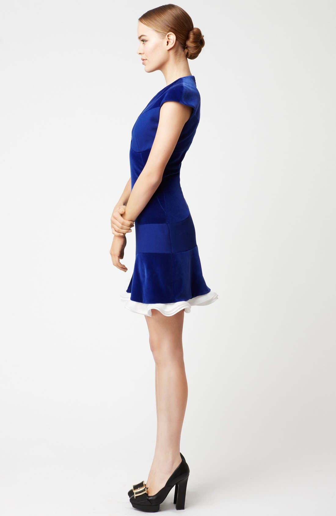 Alternate Image 3  - Alexander McQueen Organza Trim Velvet Dress