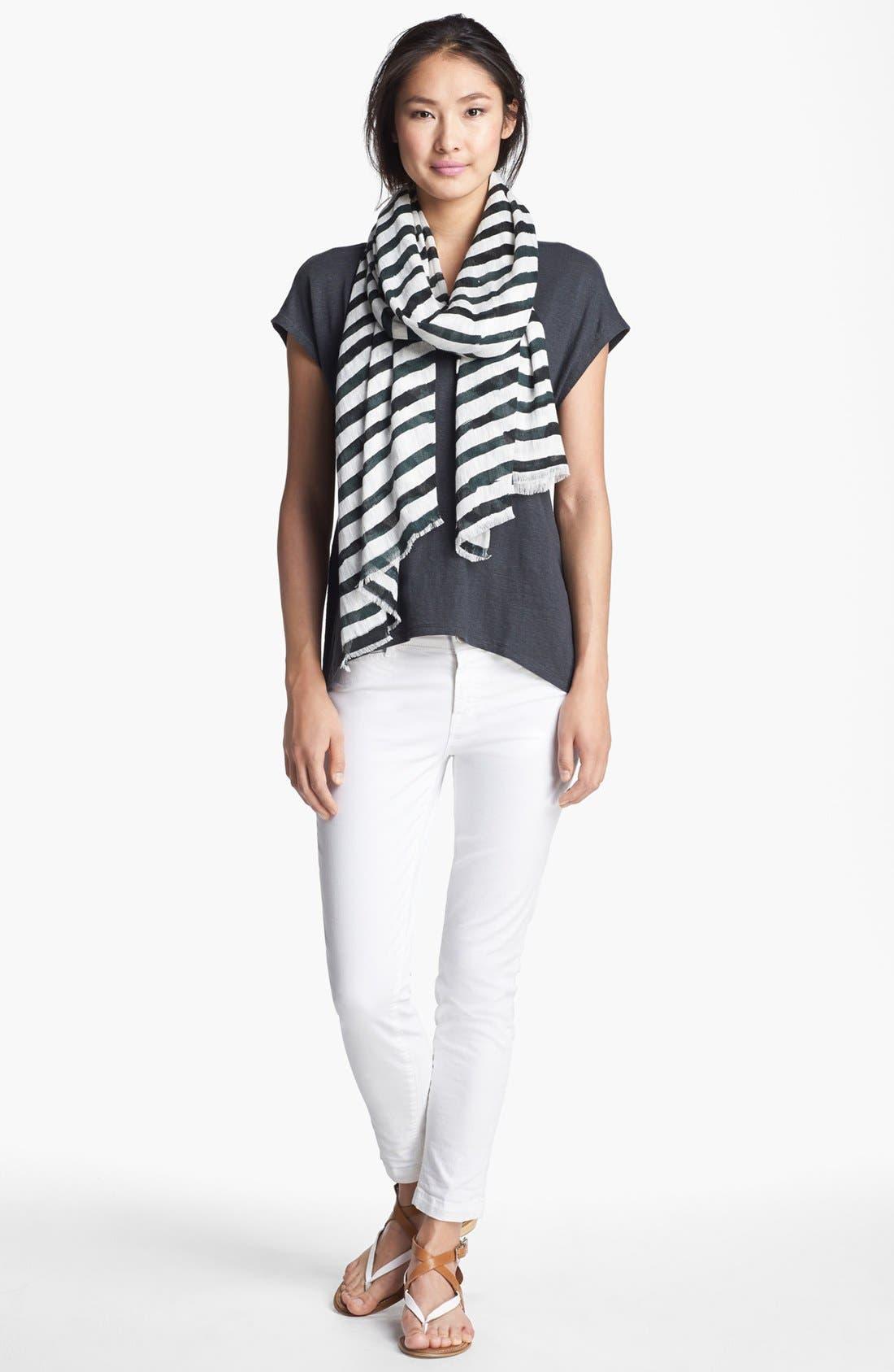 Alternate Image 3  - Eileen Fisher Stripe Linen Twill Scarf