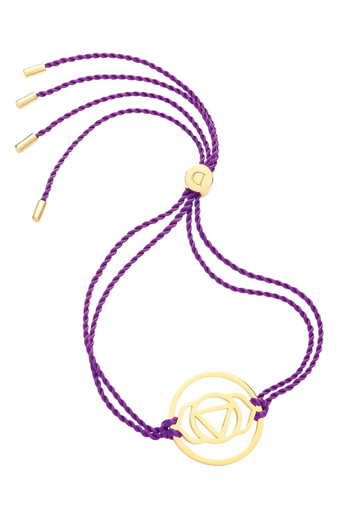 'Brow Chakra' Cord Bracelet,                         Main,                         color, 24Ct Gold Plate/Purple