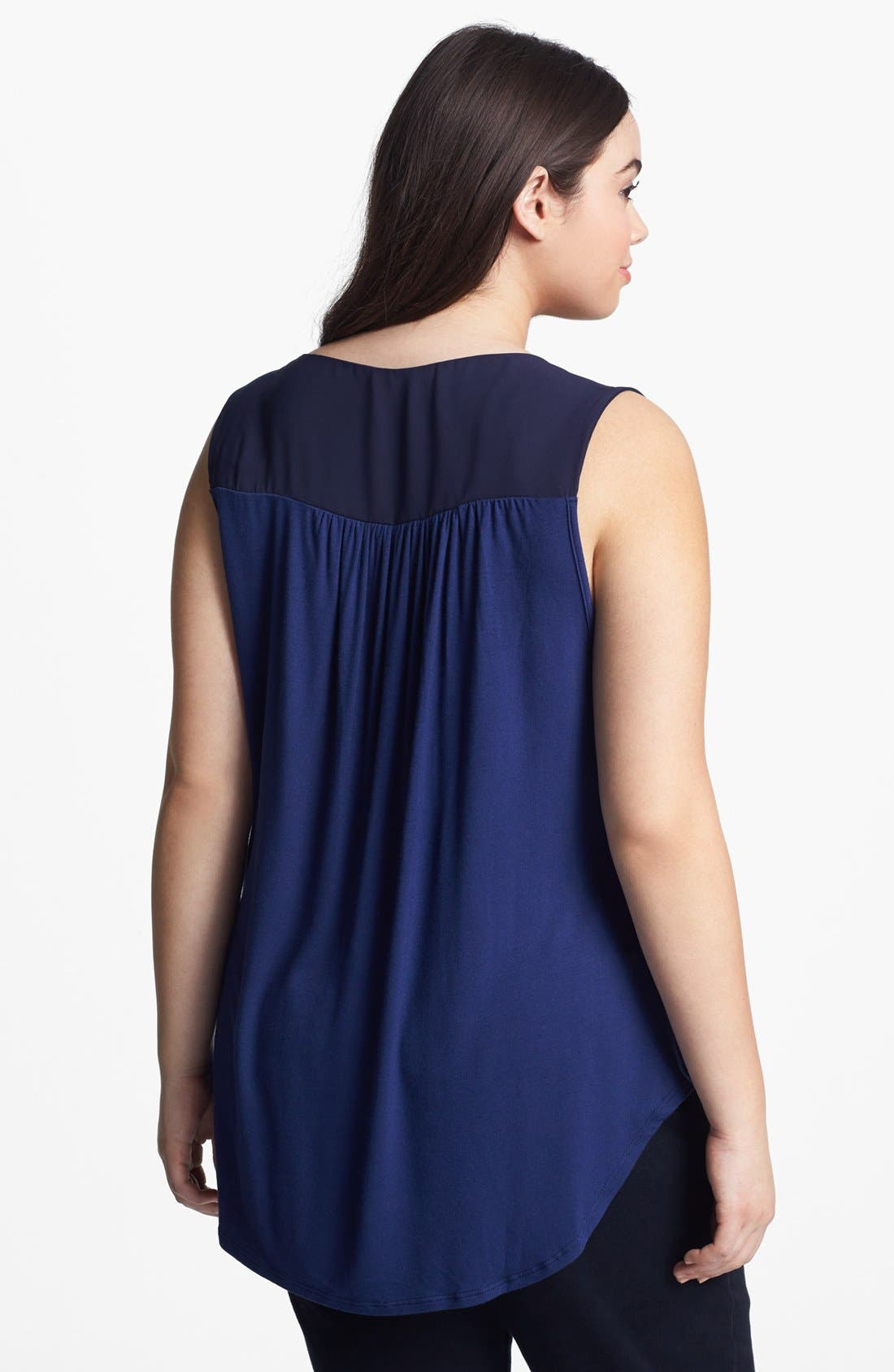 Alternate Image 2  - Loveappella Sleeveless High/Low Blouse (Plus Size)