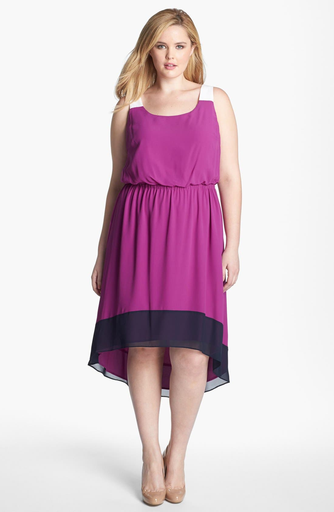 Colorblock Dress,                             Main thumbnail 1, color,                             Purple