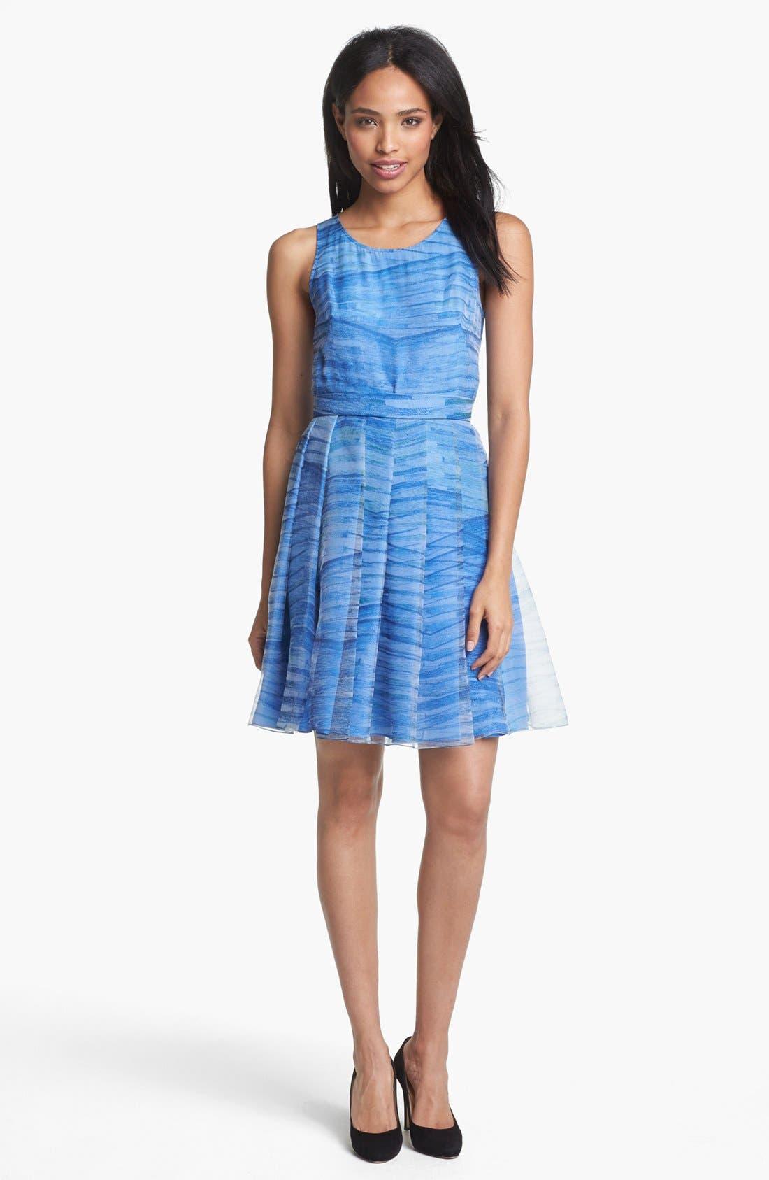 Main Image - Halston Heritage Print Organza Fit & Flare Dress