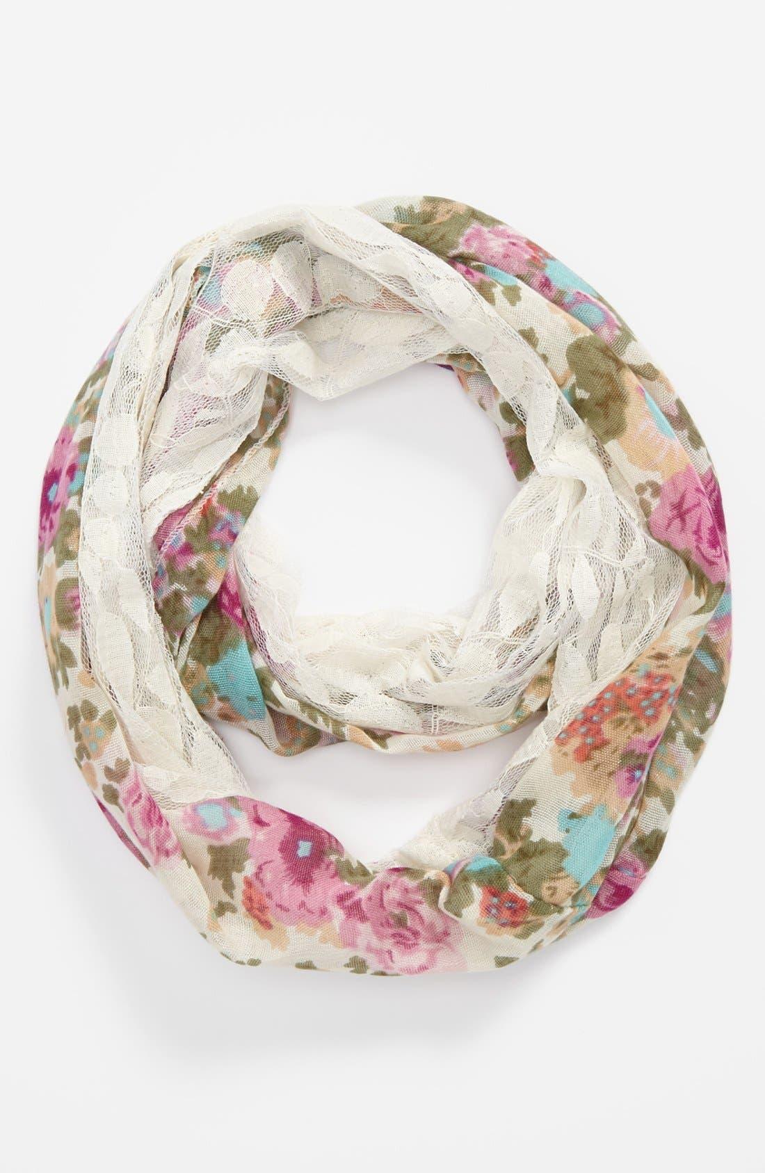 Alternate Image 1 Selected - Lulu Sheer Floral Print Infinity Scarf