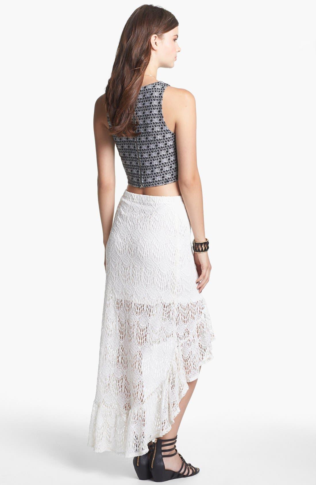 Alternate Image 2  - Lily White Ruffle High/Low Skirt (Juniors)