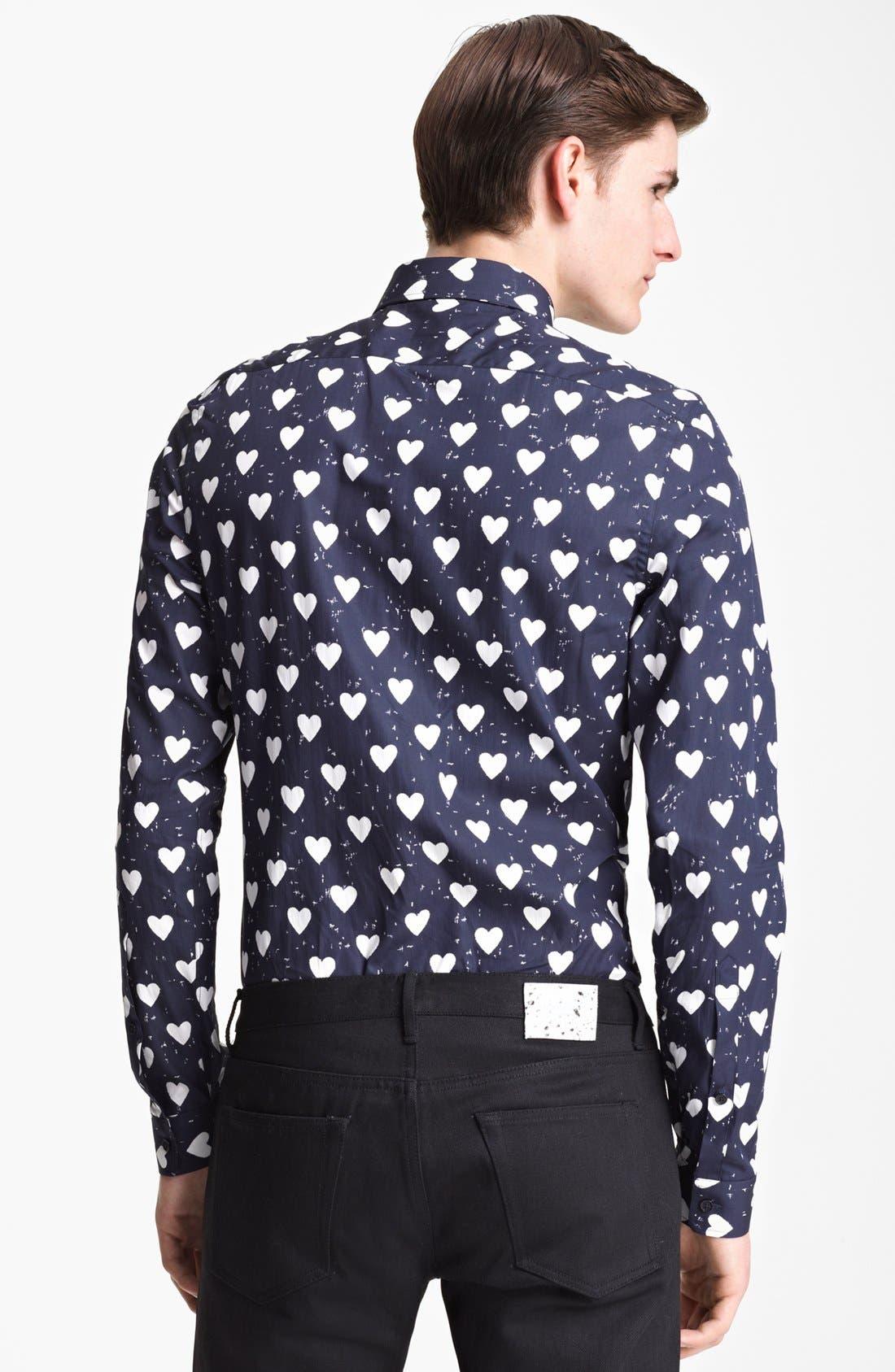Alternate Image 2  - Burberry Prorsum Heart Print Poplin Sport Shirt