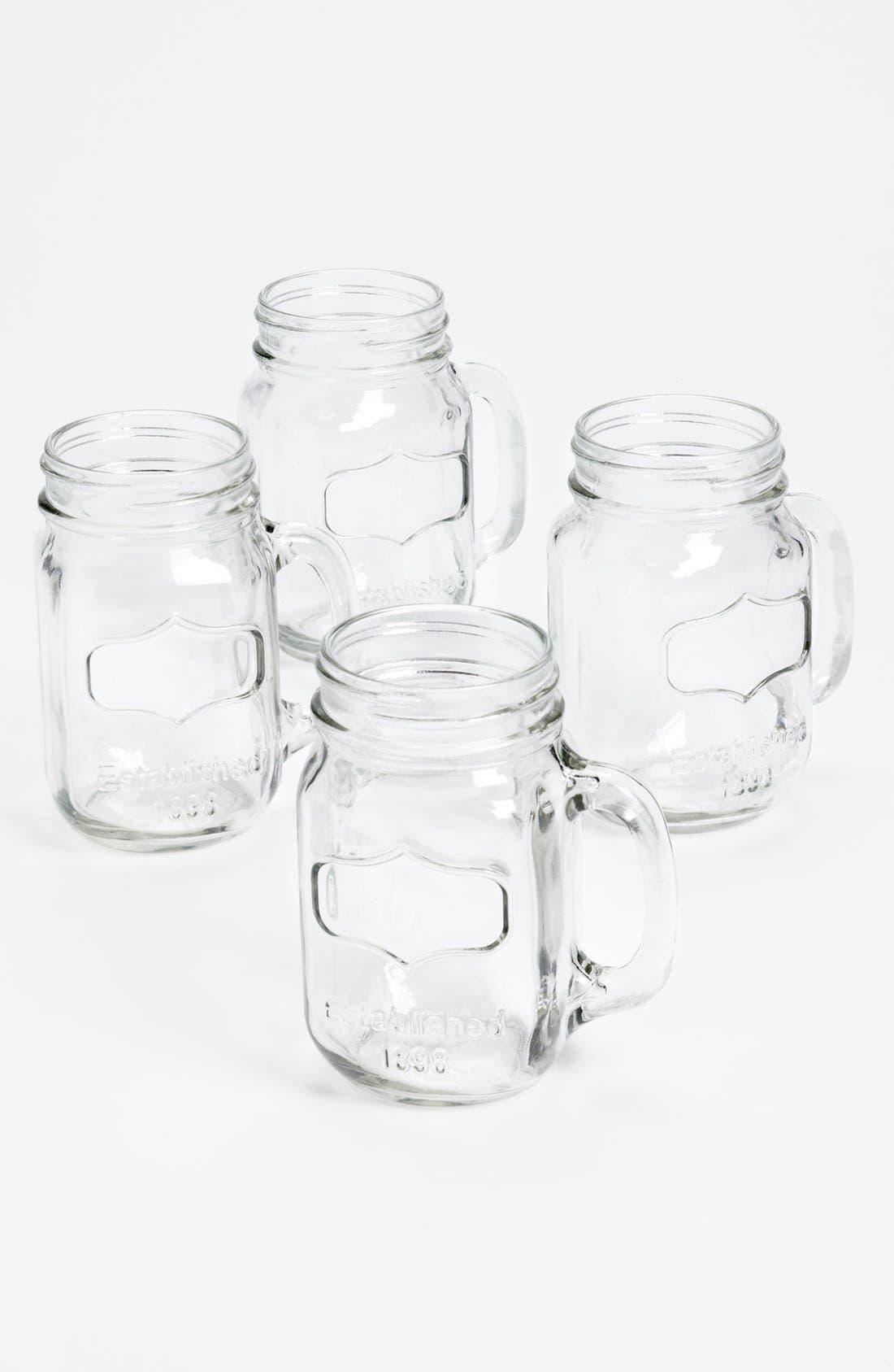 Glass Mason Jar Mugs,                         Main,                         color, Clear