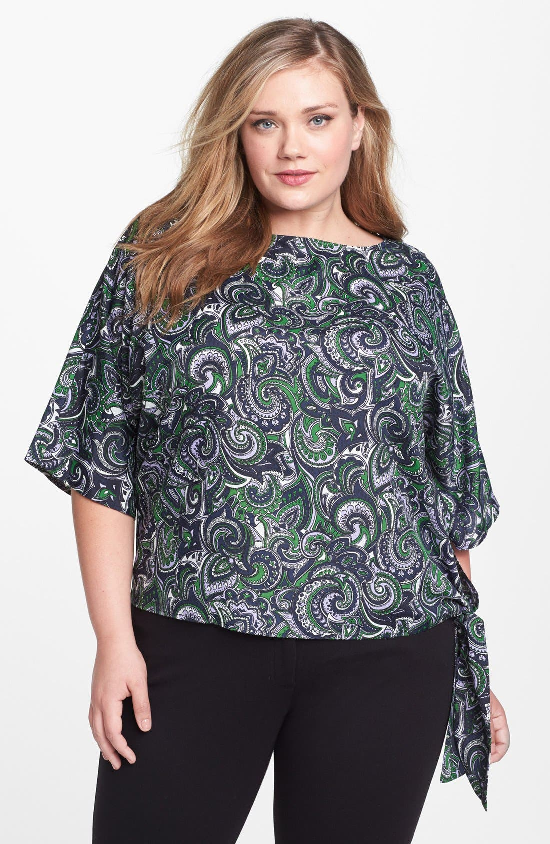 Main Image - MICHAEL Michael Kors Print Side Tie Top (Plus Size)