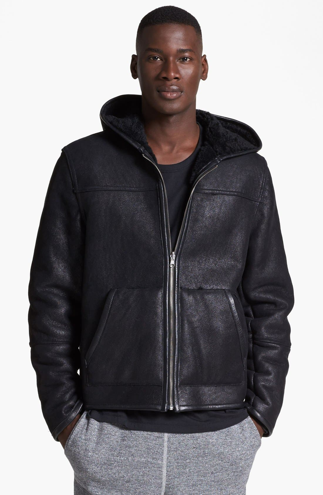 Alternate Image 1 Selected - T by Alexander Wang Reversible Genuine Shearling Leather Jacket