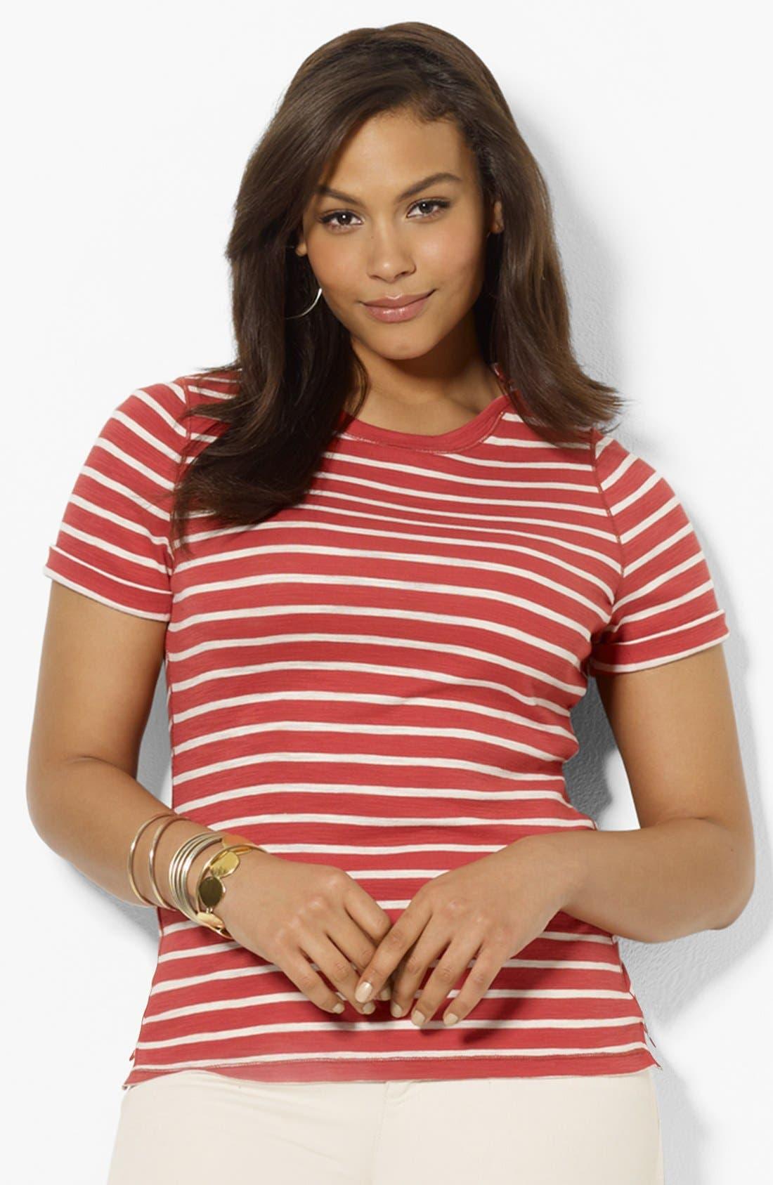 Alternate Image 1 Selected - Lauren Ralph Lauren Stripe Crewneck Tee (Plus Size)
