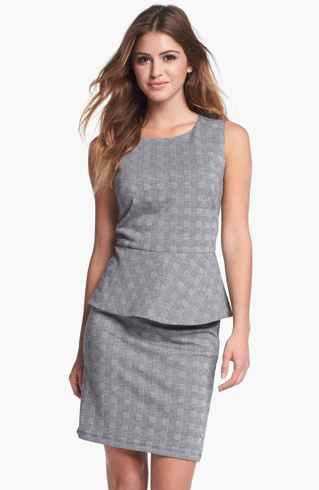 Alternate Image 1 Selected - Vince Camuto Glen Plaid Peplum Top (Nordstrom Exclusive)