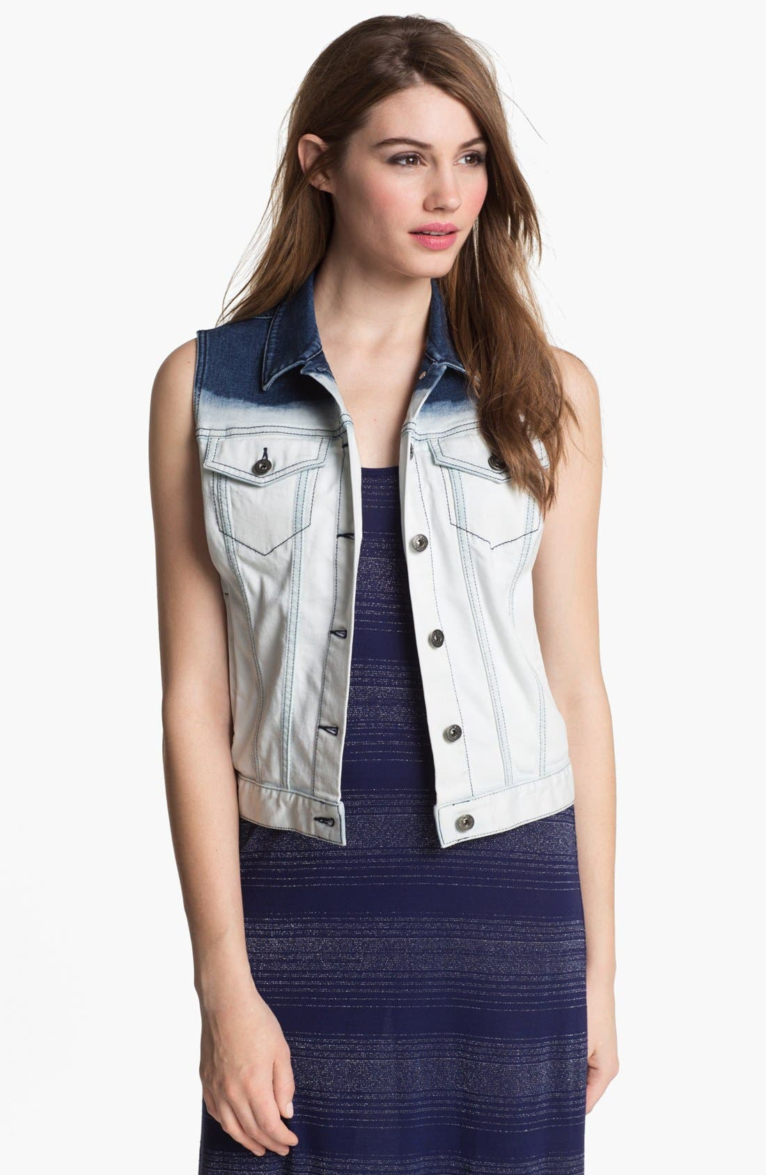 Alternate Image 1 Selected - Two by Vince Camuto Dip Dye Denim Vest (Online Only)