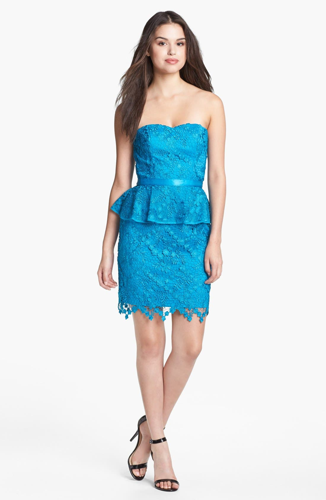 Main Image - Aidan Mattox Lace Peplum Dress (Online Only)