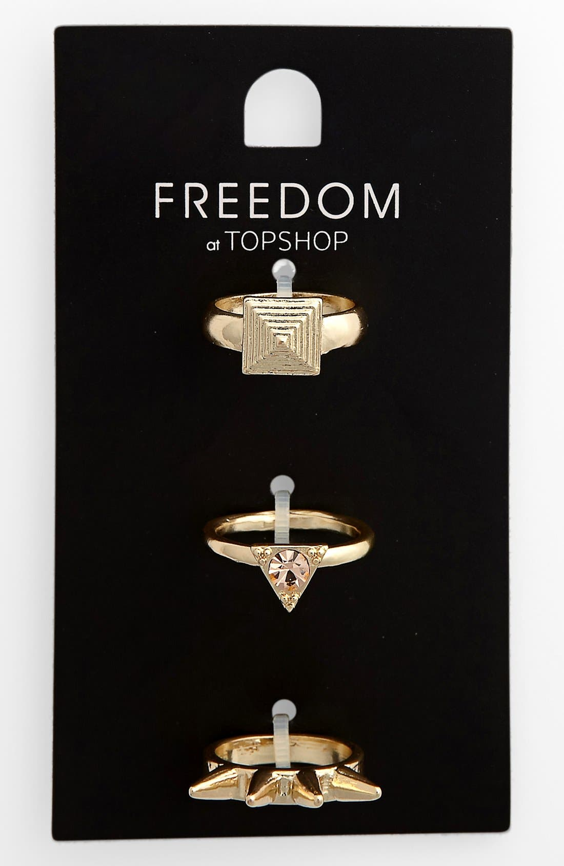 Main Image - Topshop 'Spike Stud' Rings (Set of 3)