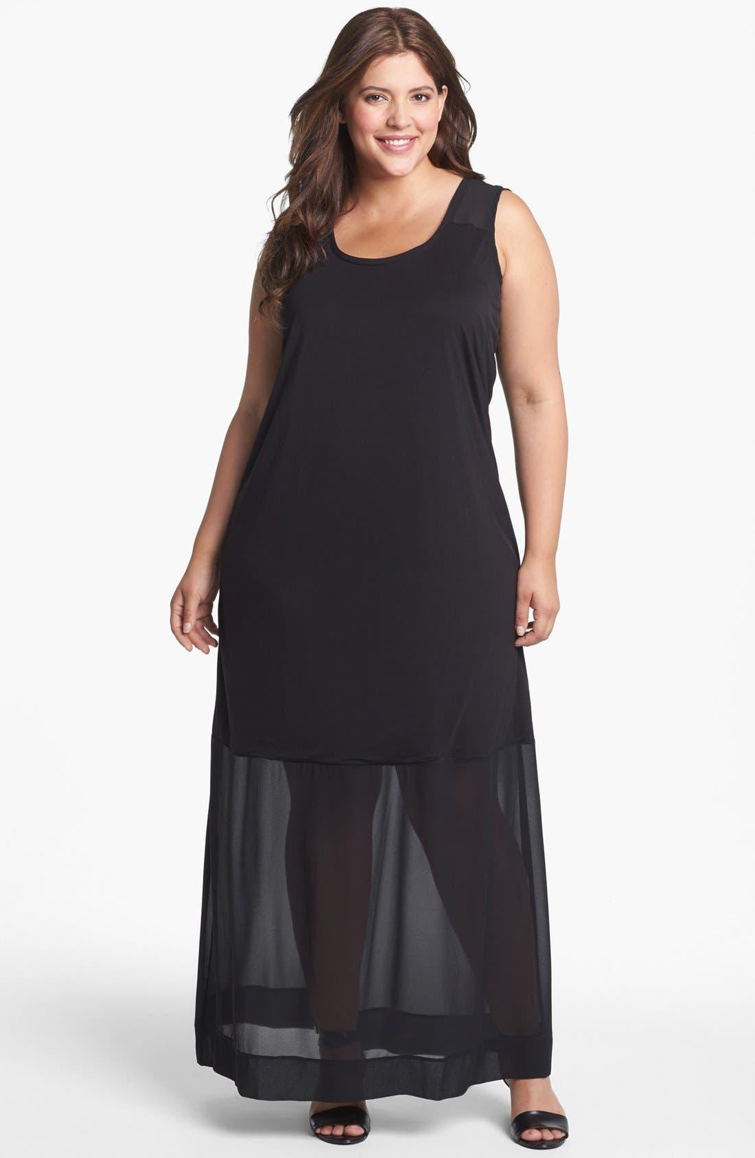 Alternate Image 1 Selected - DKNYC Mixed Media Maxi Dress (Plus Size)