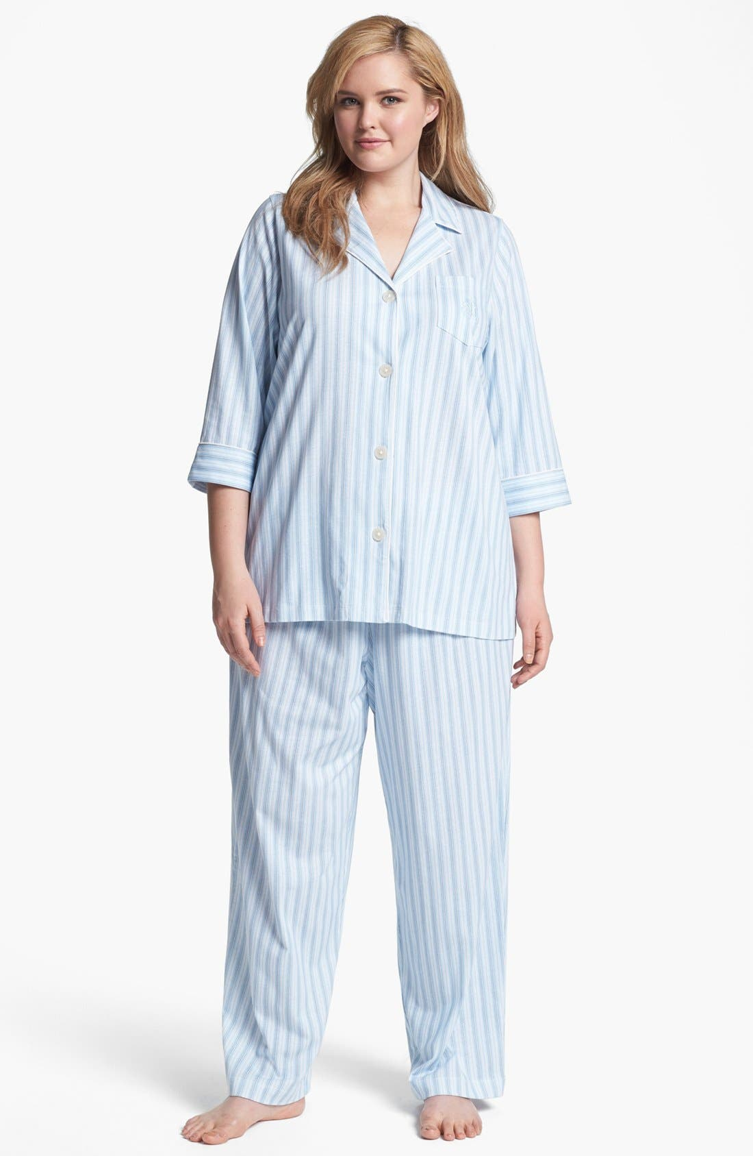 Main Image - Lauren Ralph Lauren Stripe Knit Pajamas (Plus Size)