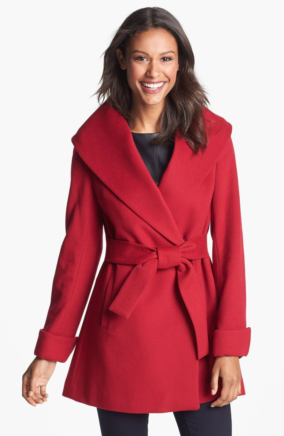 Alternate Image 1 Selected - Trina Turk Belted Wrap Coat (Regular & Petite)