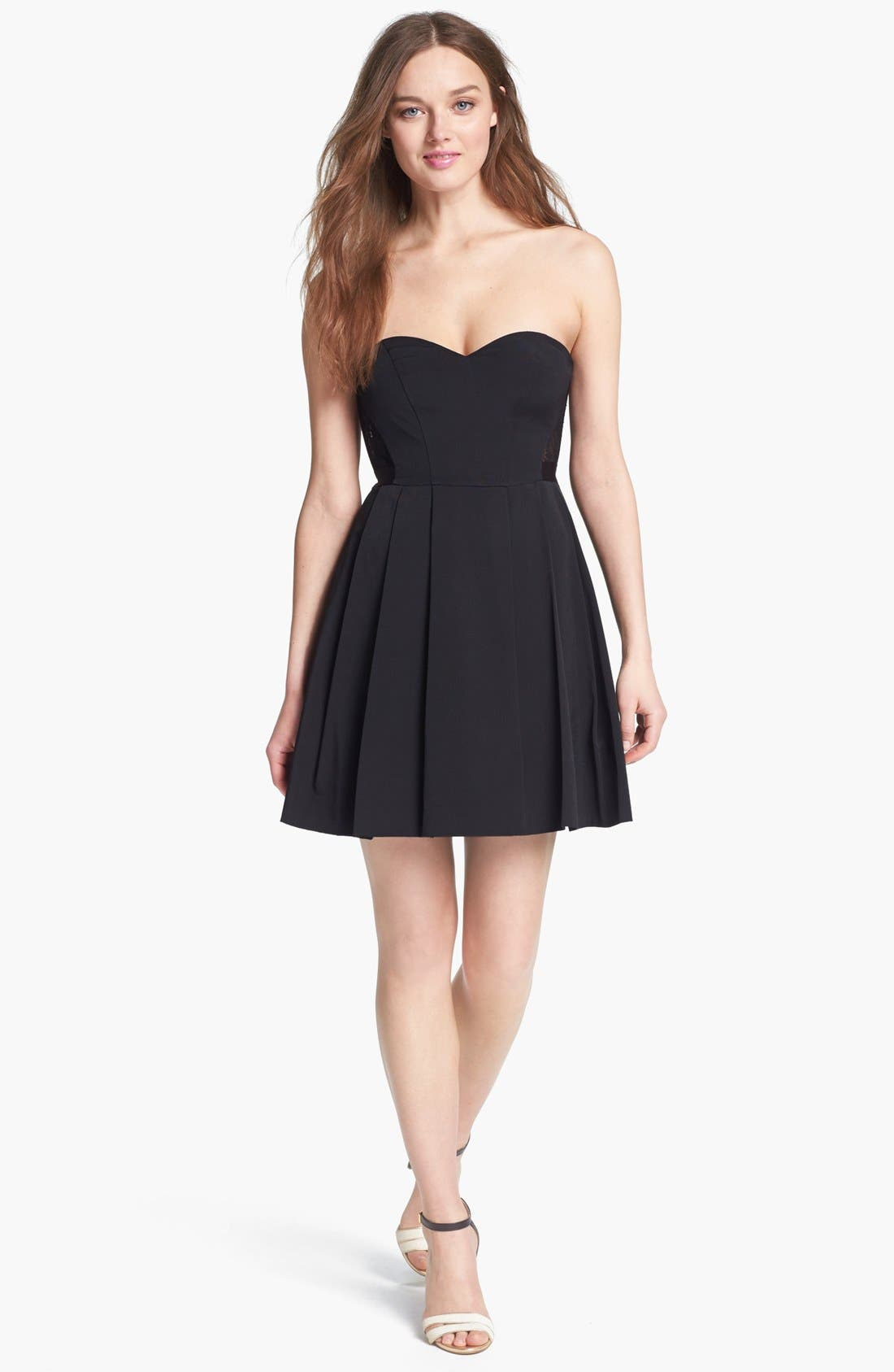 Alternate Image 1 Selected - Max & Cleo Strapless Lace Inset Fit & Flare Dress