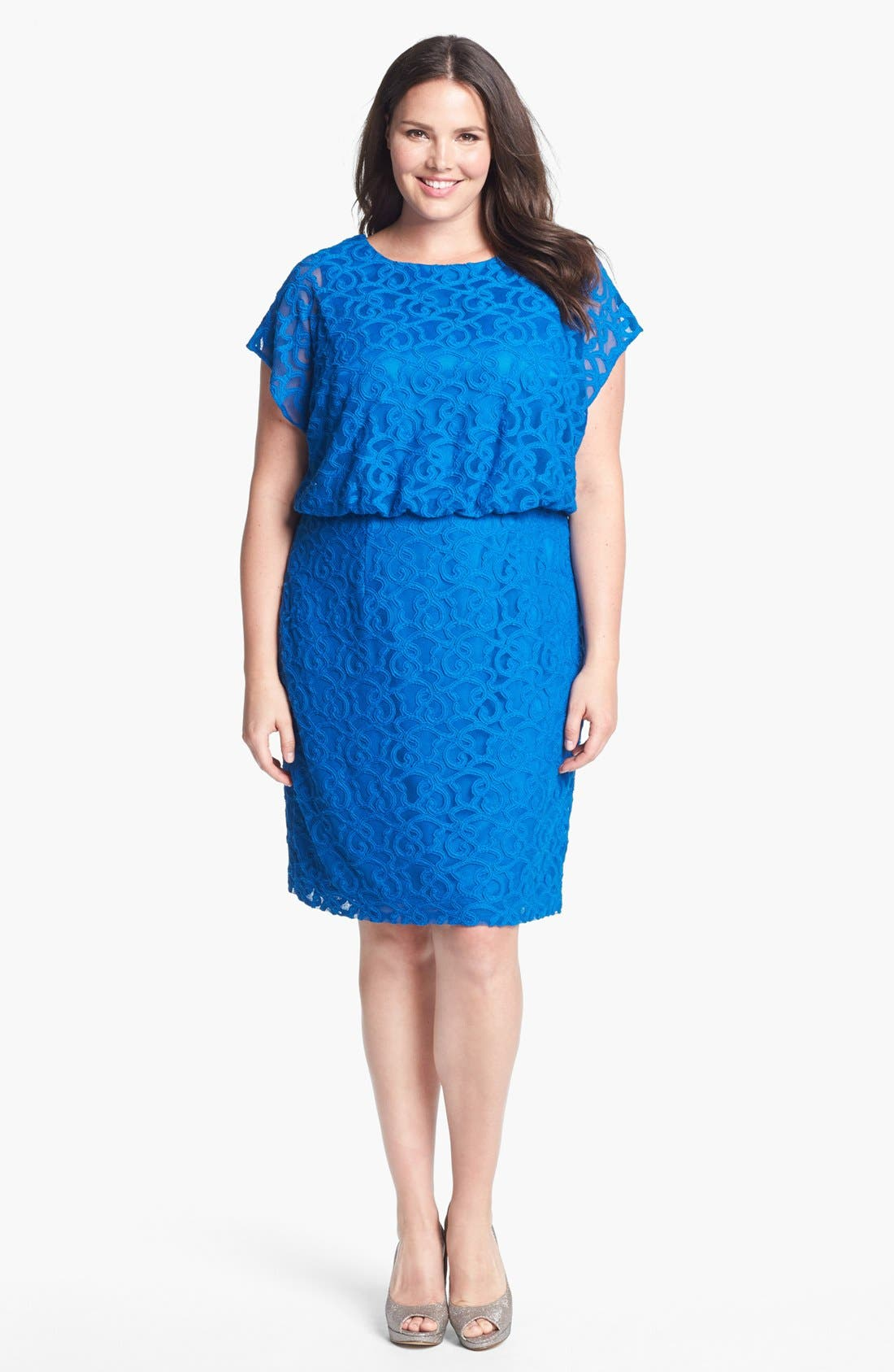 Alternate Image 1 Selected - Adrianna Papell Lace Blouson Dress (Plus Size)
