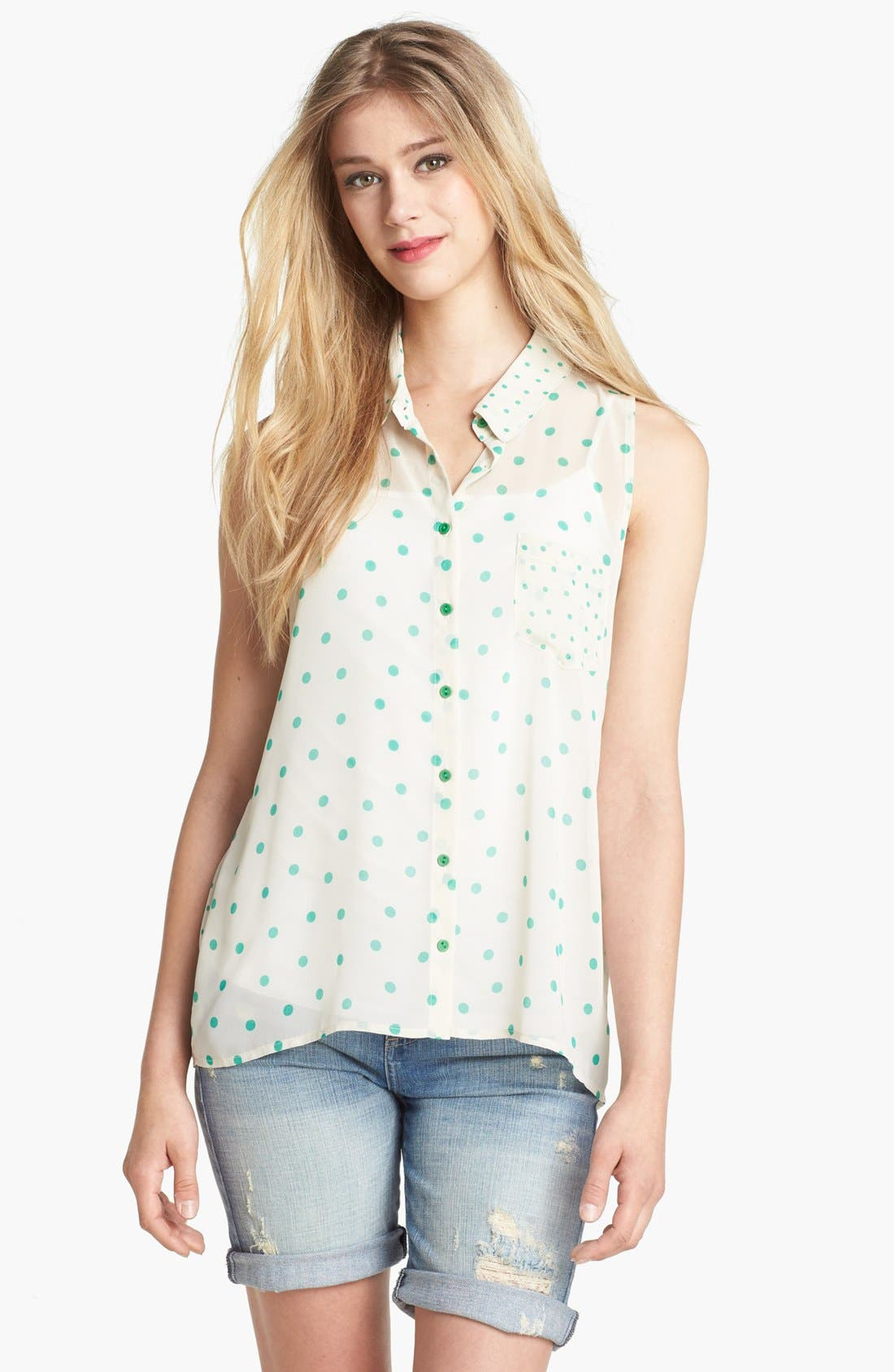 Alternate Image 1 Selected - Olivia Moon Dot Print Sleeveless Blouse