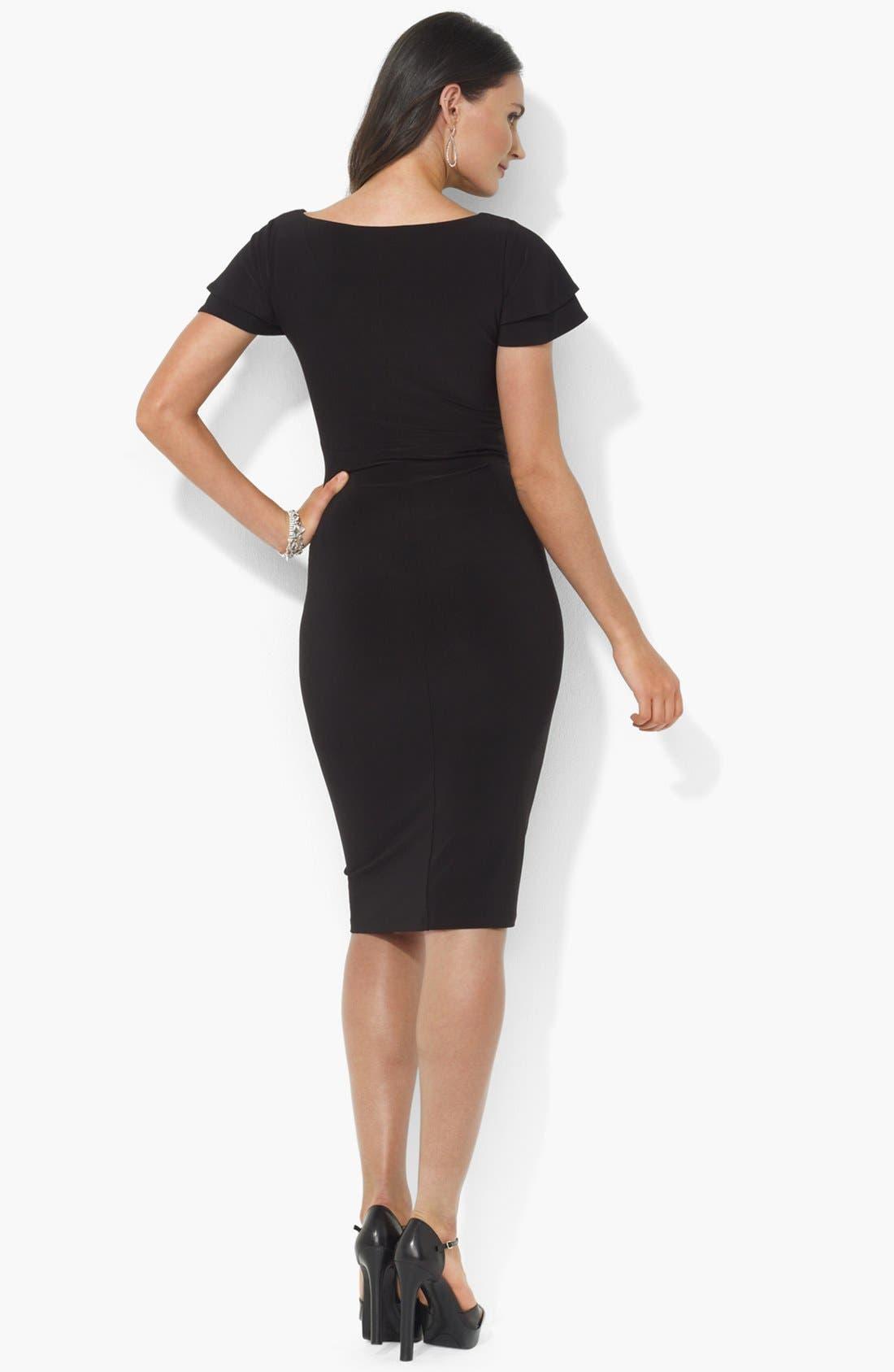 Alternate Image 2  - Lauren Ralph Lauren Flutter Sleeve Jersey Sheath Dress