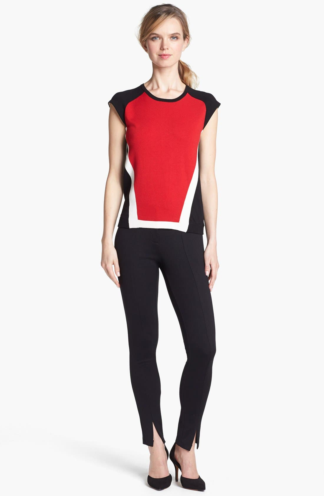 Alternate Image 1 Selected - Vince Camuto Colorblock Cap Sleeve Sweater
