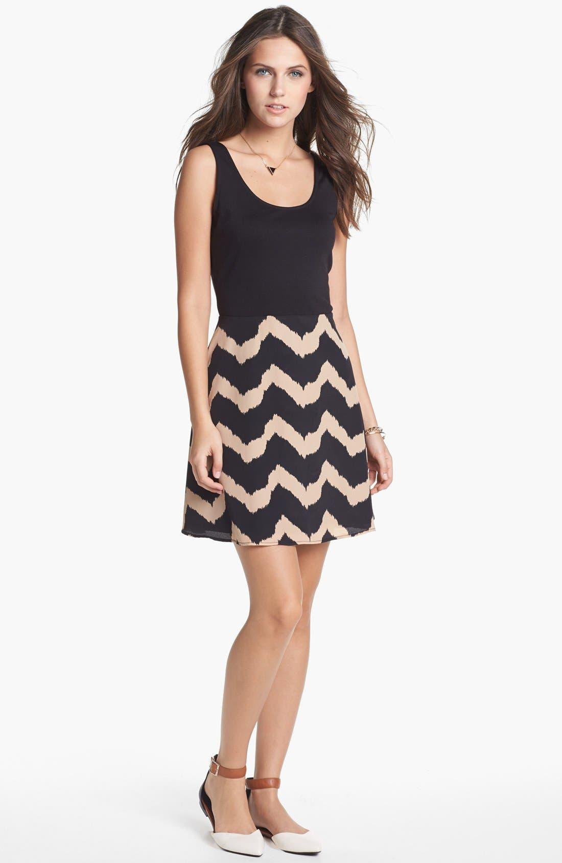 Main Image - dee elle Print Fit & Flare Dress (Juniors) (Online Only)