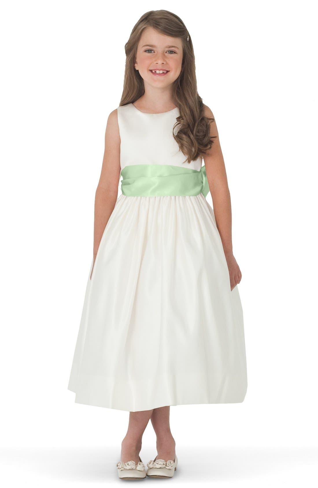 Sleeveless Satin Dress with Contrast Sash,                         Main,                         color, Ivory/ Mint