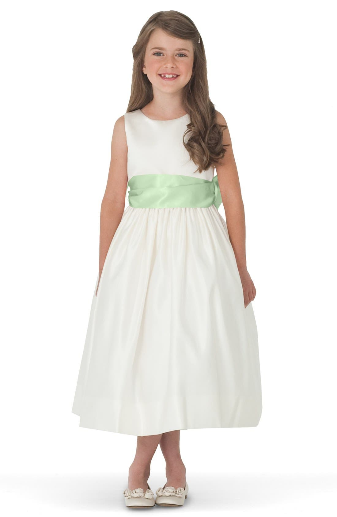 Sleeveless Satin Dress with Contrast Sash,                         Main,                         color, Ivory/ Mint