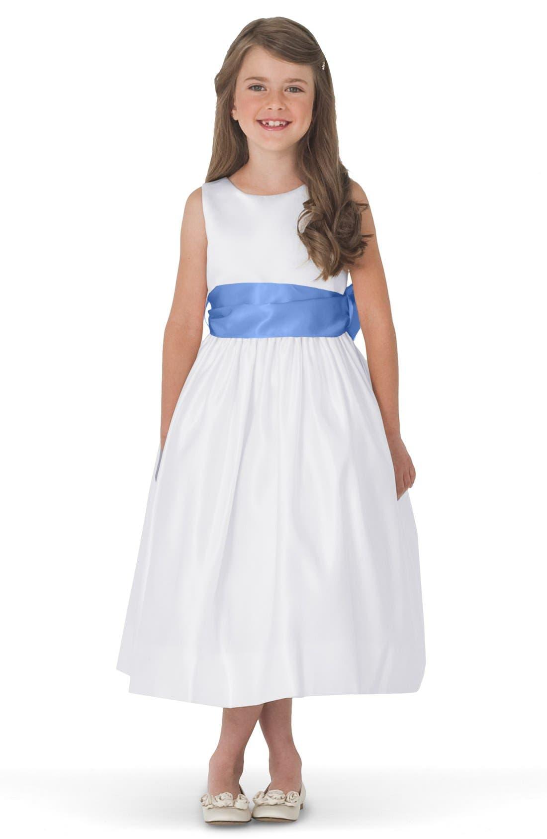 Alternate Image 1 Selected - Us Angels White Tank Dress with Satin Sash (Toddler, Little Girls & Big Girls)
