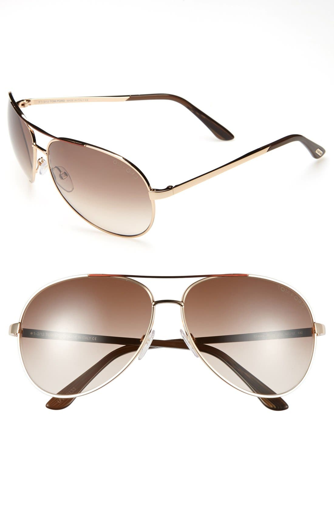 'Charles' 62mm Aviator Sunglasses,                         Main,                         color, Shiny Rose Gold/ Brown