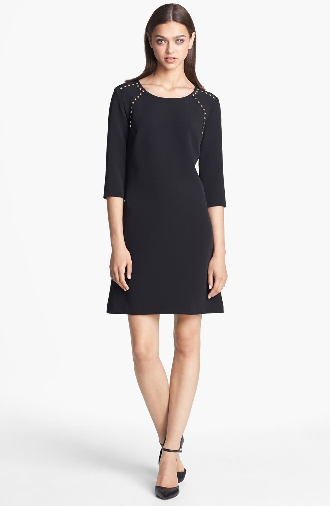 Main Image - Donna Morgan Studded Crepe Shift Dress (Online Only)