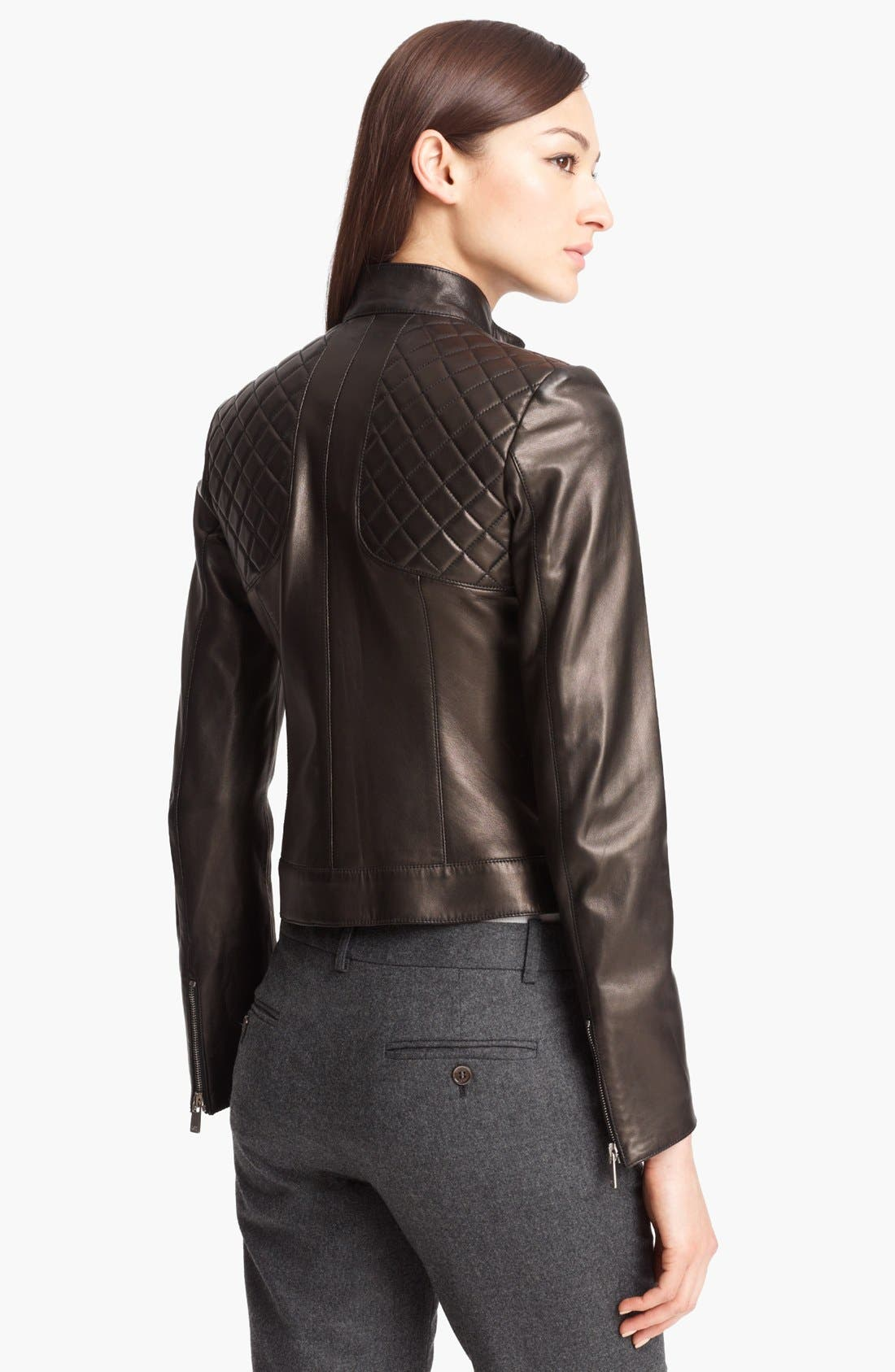 Alternate Image 2  - Michael Kors Quilted Plonge Leather Jacket