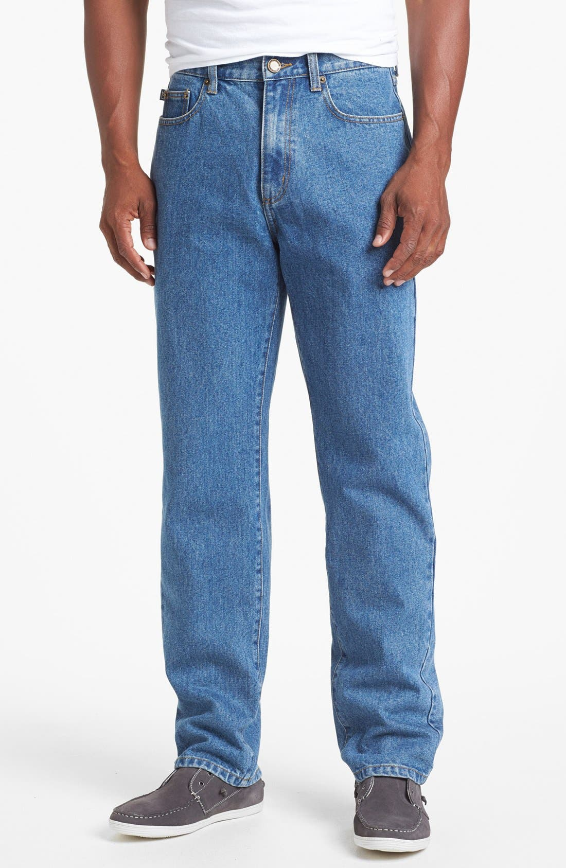 Alternate Image 1 Selected - Cutter & Buck Classic Five Pocket Straight Leg Jeans (Denim Wash)