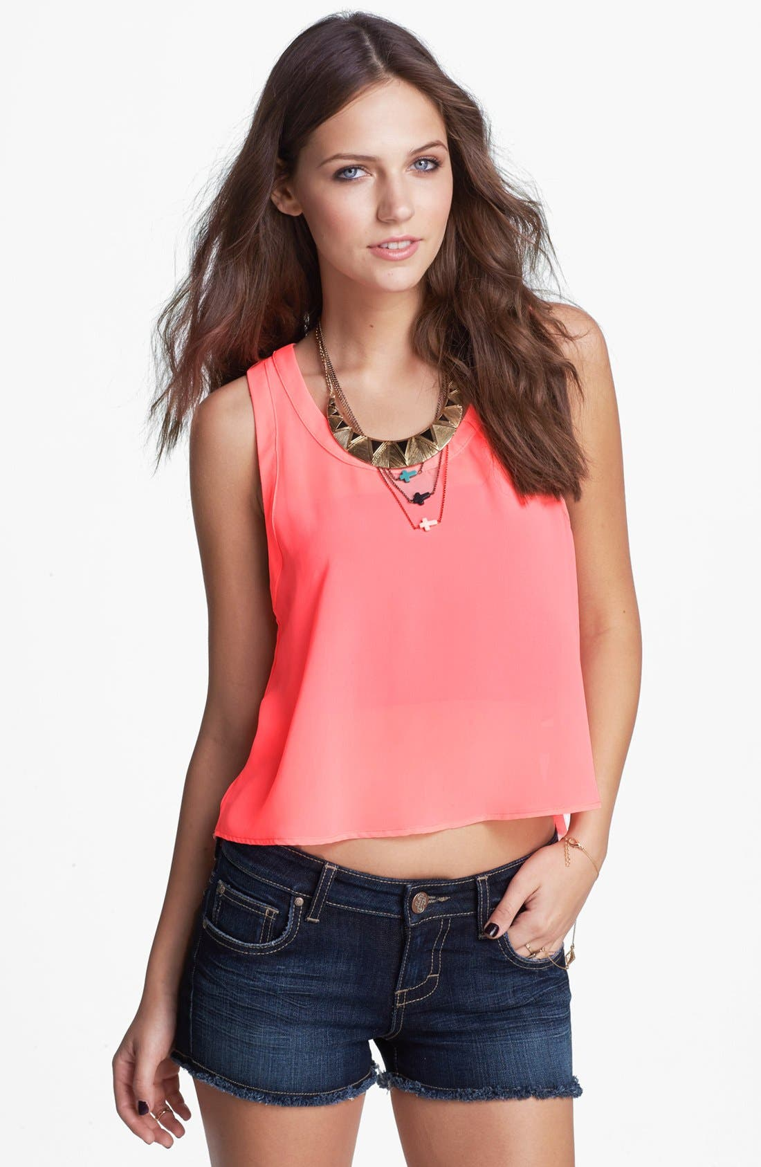 Main Image - Lush Cage Back High/Low Crop Tank (Juniors)