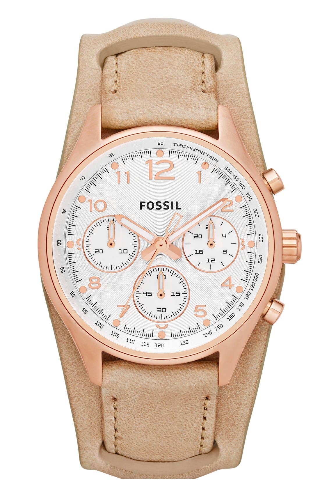 Main Image - Fossil 'Flight' Leather Cuff Watch