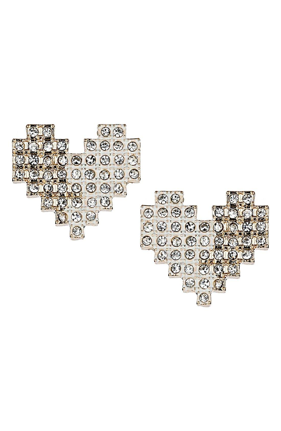 Alternate Image 1 Selected - Topshop Pixelated Heart Stud Earrings