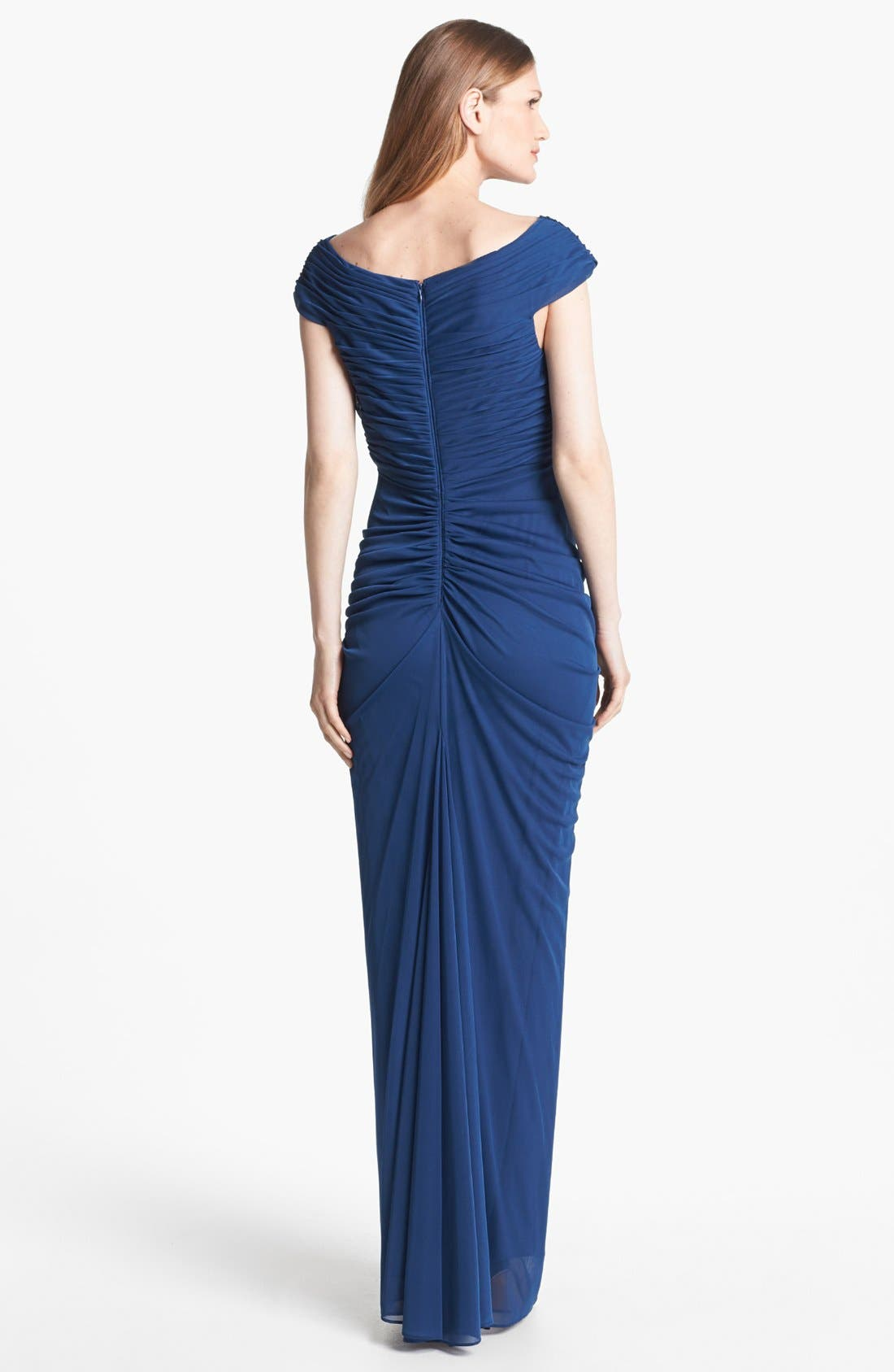 Alternate Image 2  - Adrianna Papell Front Twist Ruched Mesh Gown (Regular & Petite)