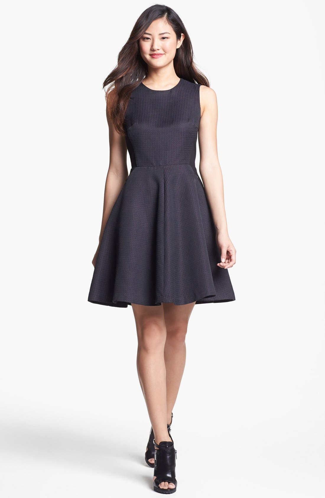 Alternate Image 1 Selected - Halogen® Jacquard Fit & Flare Dress (Regular & Petite)
