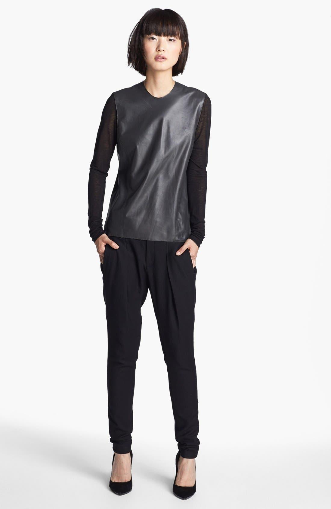 Alternate Image 2  - Helmut Lang Knit Sleeve Leather Top