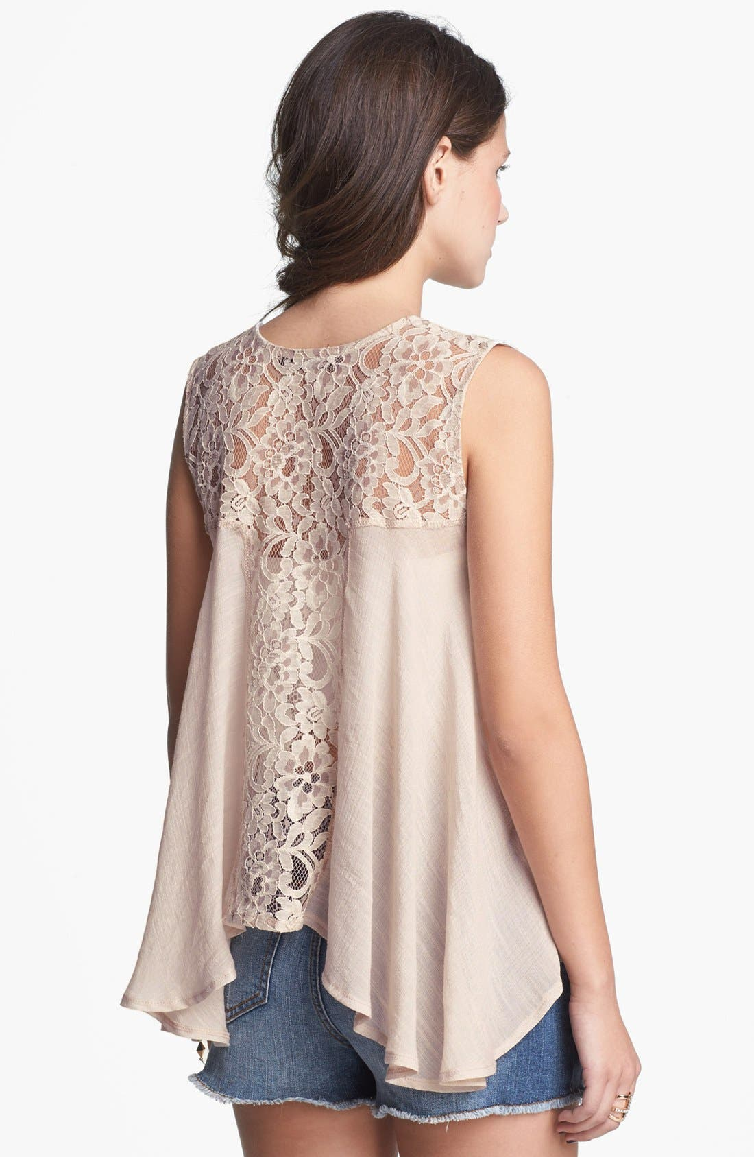 Alternate Image 2  - Living Doll Lace Handkerchief Tank (Juniors)