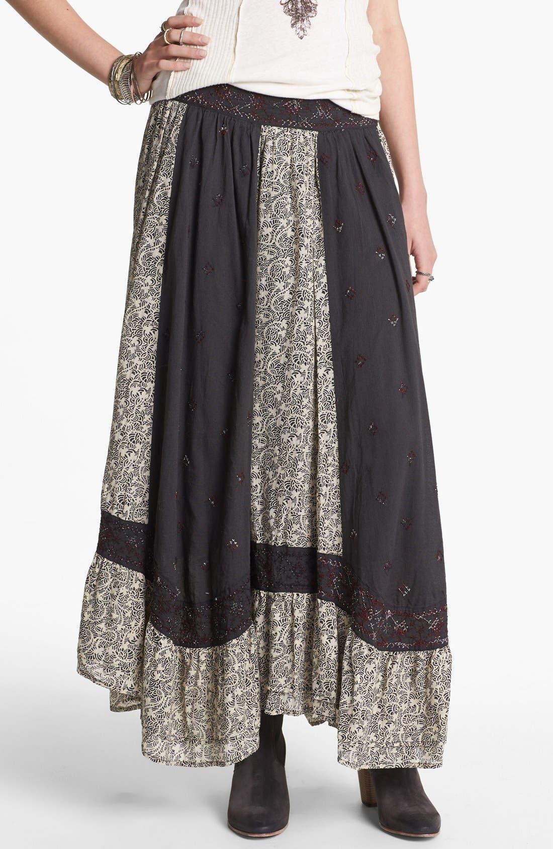 Main Image - Free People 'Heirloom' Embroidered Peasant Skirt