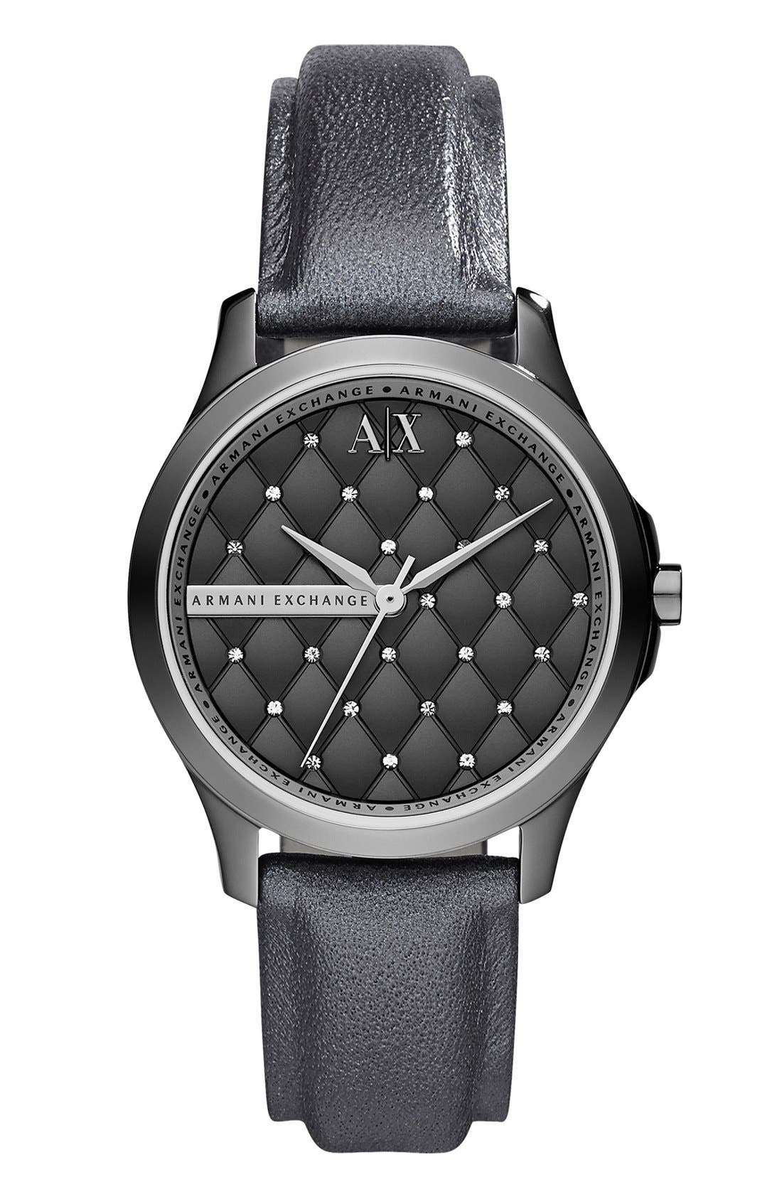 Alternate Image 1 Selected - AX Armani Exchange Crystal Quilted Dial Watch, 36mm (Online Only)