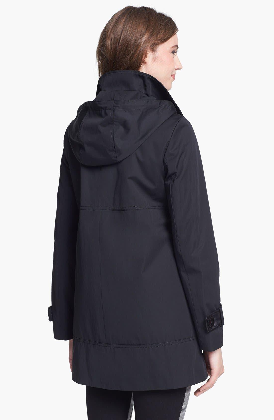 Alternate Image 3  - Ellen Tracy Faux Leather Trim Raincoat (Regular & Petite)
