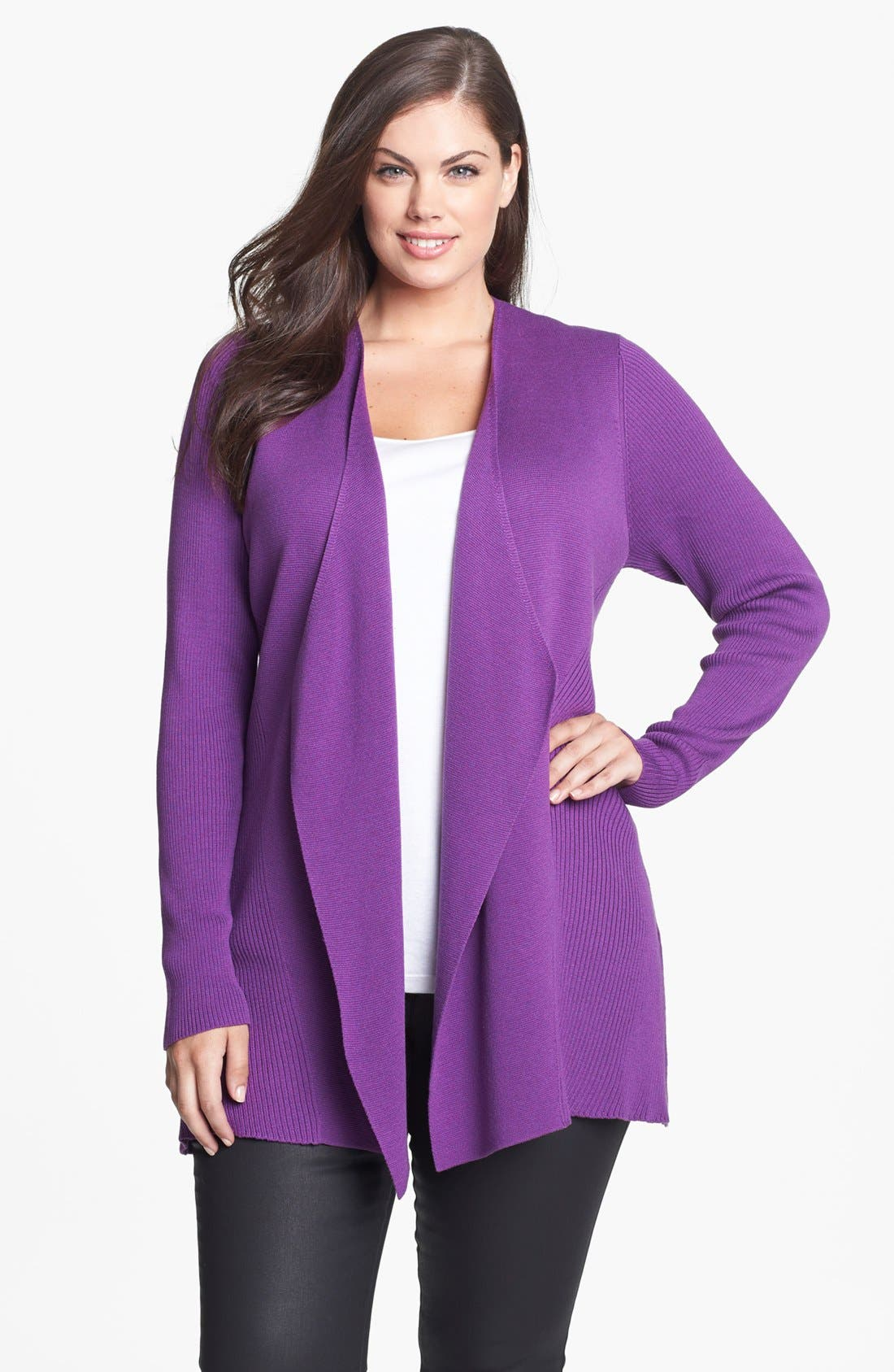 Alternate Image 1 Selected - Eileen Fisher Shaped Silk & Cotton Jacket (Plus Size)