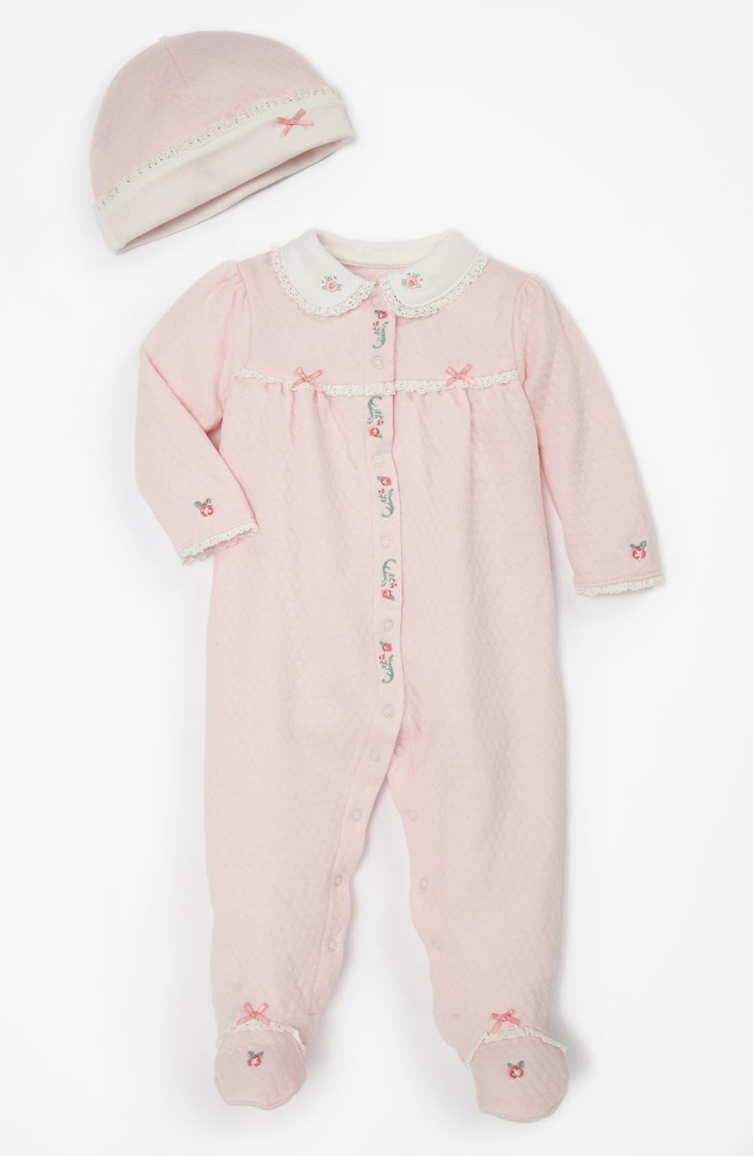 Main Image - Little Me 'Scroll Rose' Footie & Hat (Baby Girls)