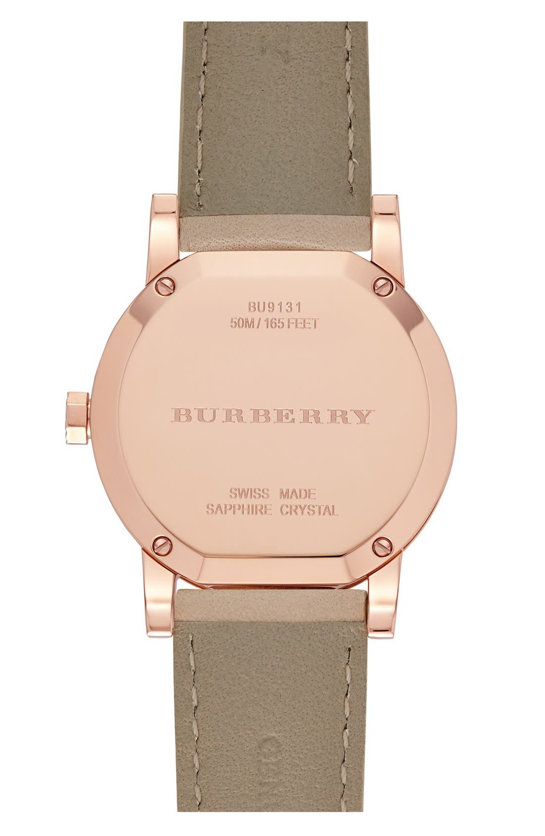 Alternate Image 3  - Burberry Round Diamond Dial Leather Strap Watch, 34mm