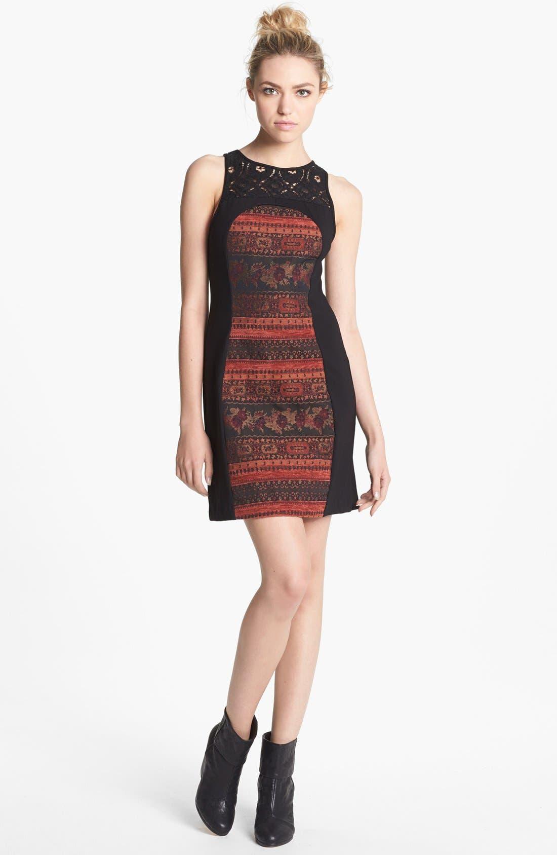 Main Image - BB Dakota 'Aria' Mixed Media Sheath Dress
